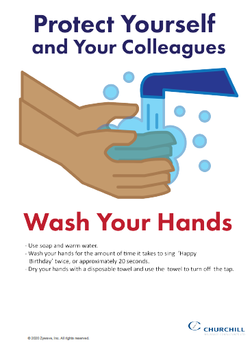 COVID-19 hand washing poster for work